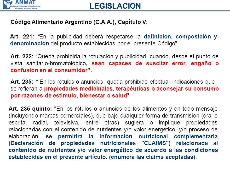 Código Alimentario Argentino (C.A.A.), Capítulo V: Art.