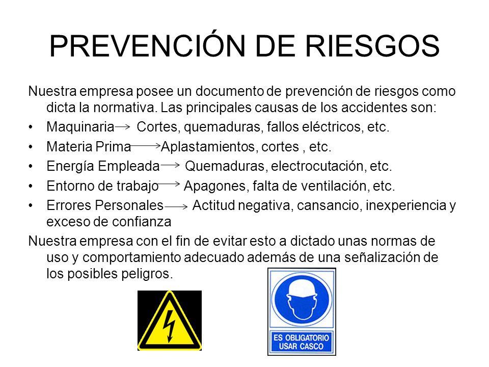 Nuestra empresa posee un documento de prevención de riesgos como dicta la normativa. Las principales causas de los accidentes son: Maquinaria Cortes,