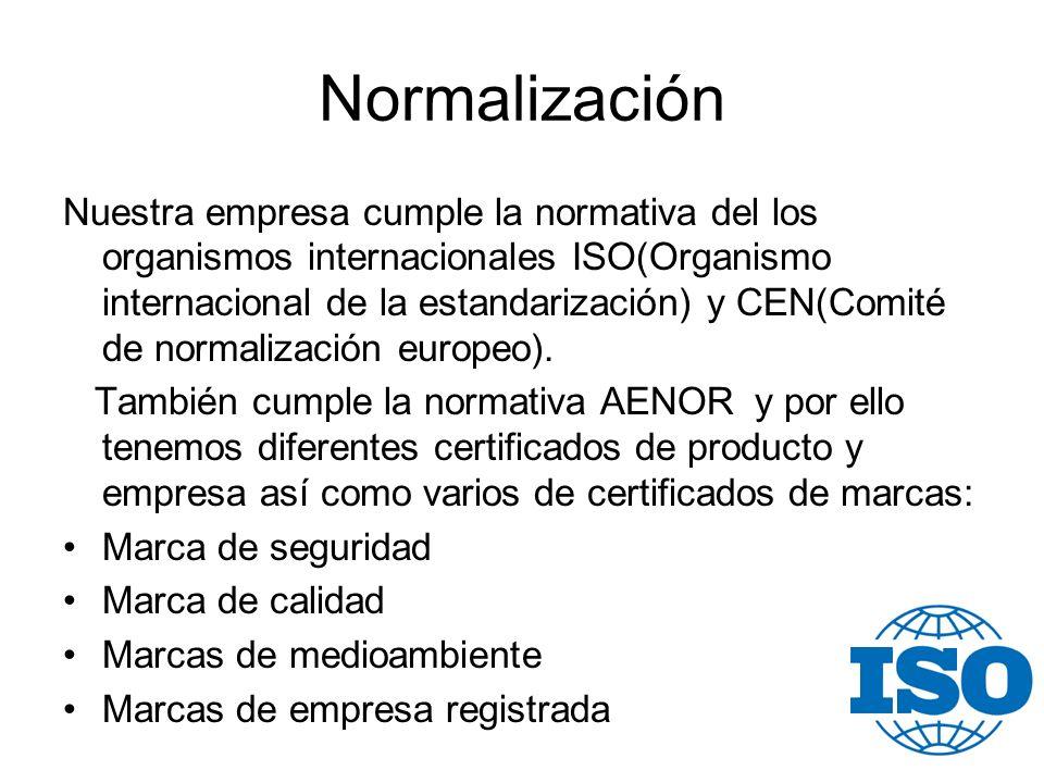 Normalización Nuestra empresa cumple la normativa del los organismos internacionales ISO(Organismo internacional de la estandarización) y CEN(Comité d