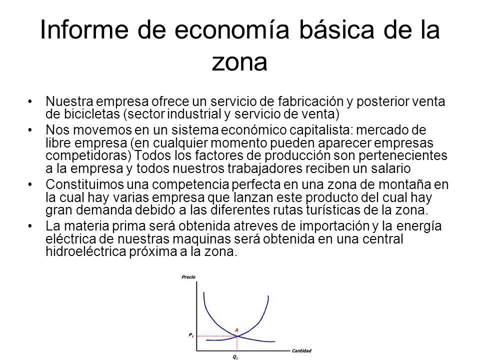 Informe de economía básica de la zona Nuestra empresa ofrece un servicio de fabricación y posterior venta de bicicletas (sector industrial y servicio