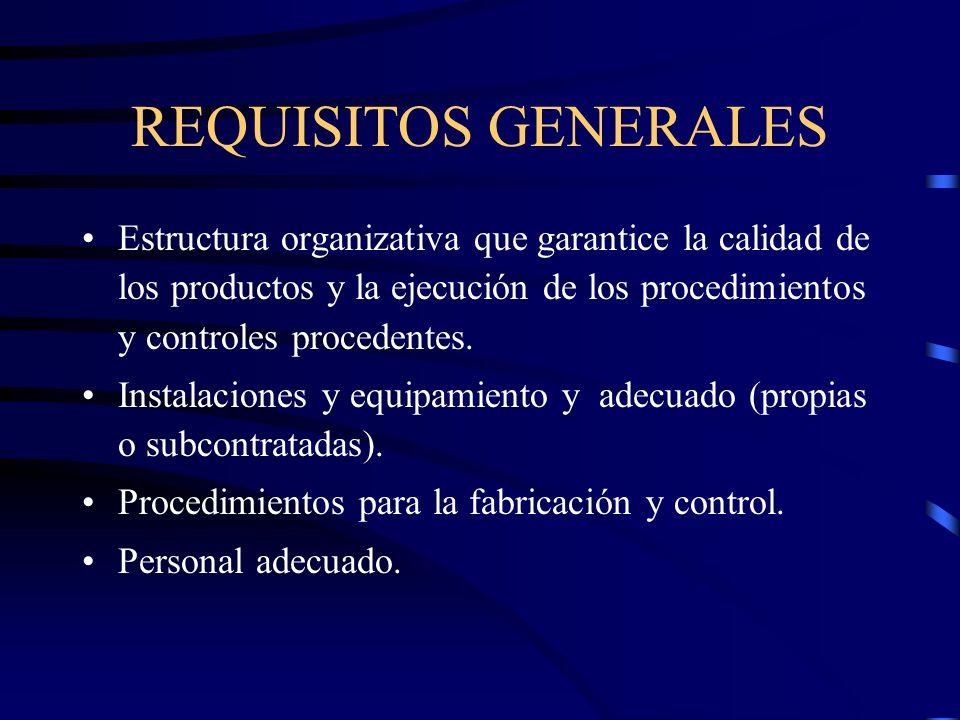 REQUISITOS GENERALES Estructura organizativa que garantice la calidad de los productos y la ejecución de los procedimientos y controles procedentes.