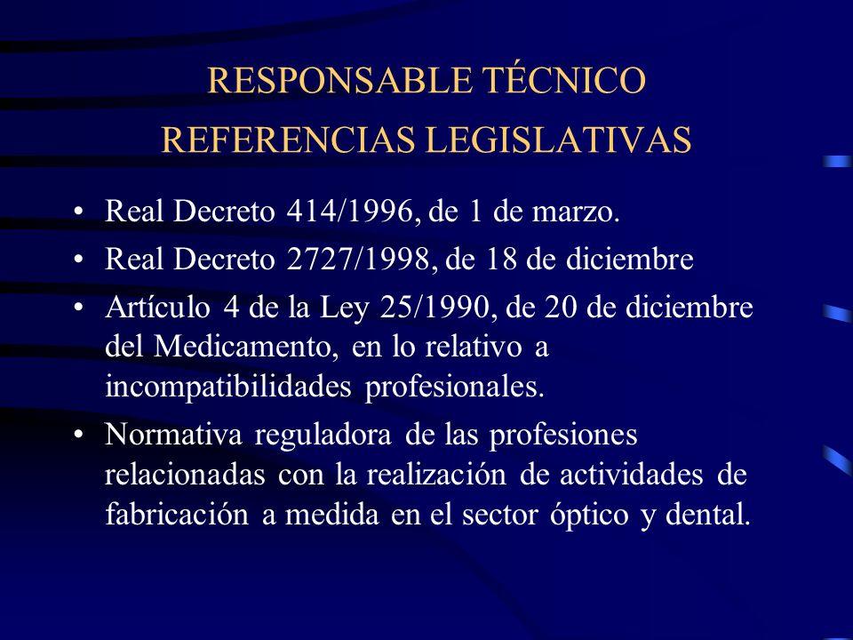 RESPONSABLE TÉCNICO REFERENCIAS LEGISLATIVAS Real Decreto 414/1996, de 1 de marzo.