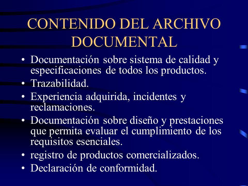 CONTENIDO DEL ARCHIVO DOCUMENTAL Documentación sobre sistema de calidad y especificaciones de todos los productos.