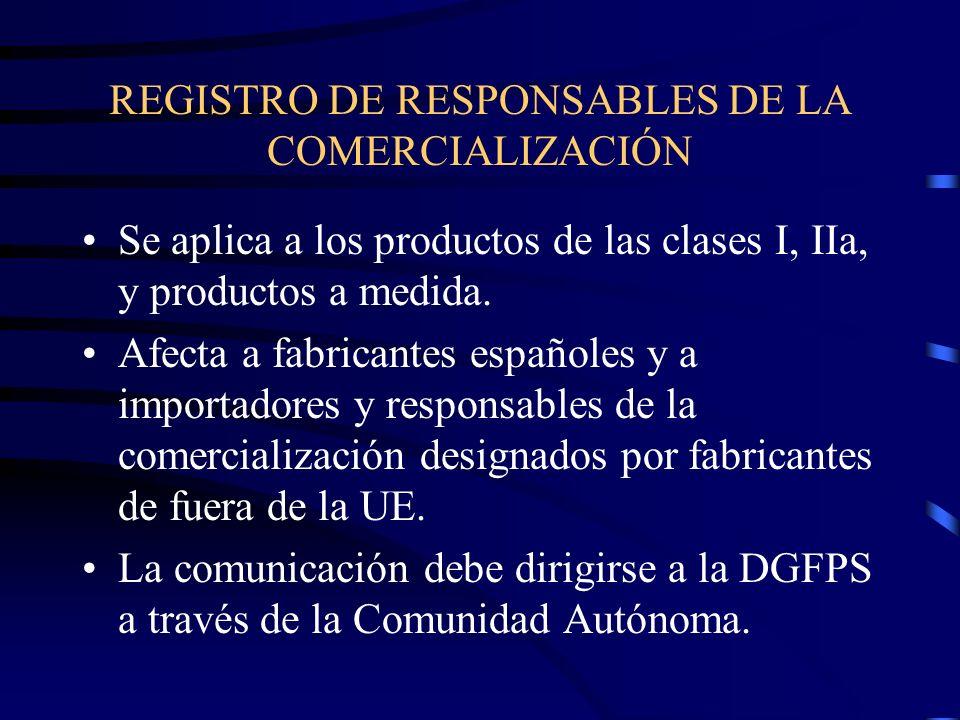 REGISTRO DE RESPONSABLES DE LA COMERCIALIZACIÓN Se aplica a los productos de las clases I, IIa, y productos a medida.