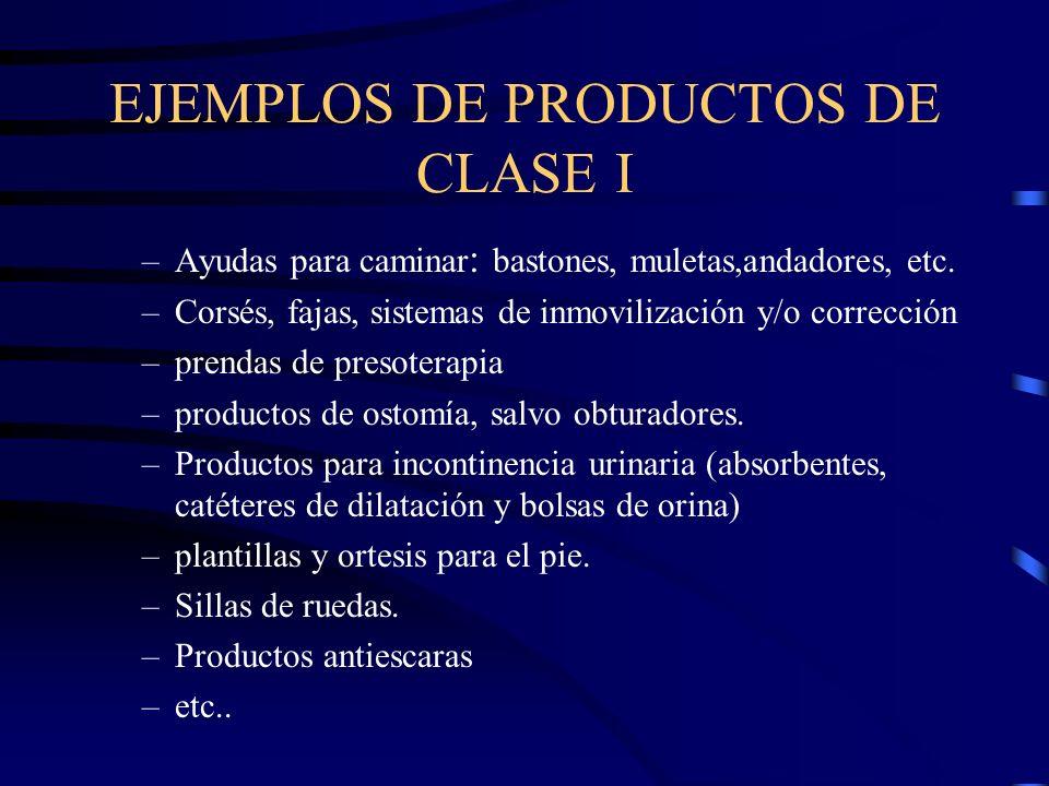 EJEMPLOS DE PRODUCTOS DE CLASE I –Ayudas para caminar : bastones, muletas,andadores, etc.
