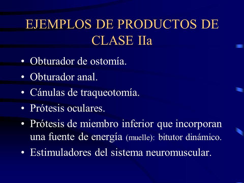 EJEMPLOS DE PRODUCTOS DE CLASE IIa Obturador de ostomía.
