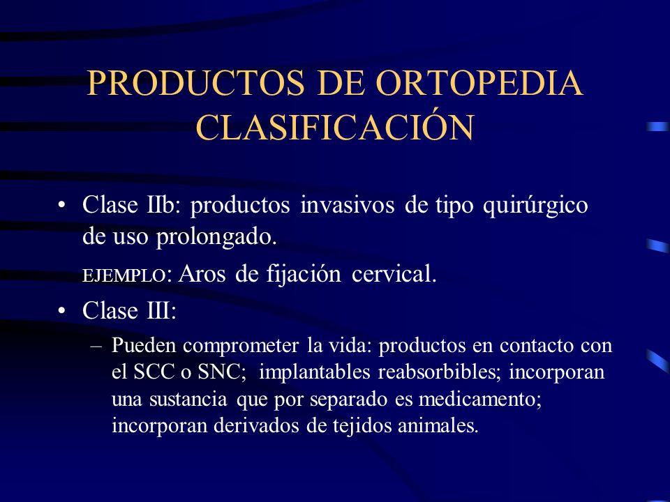PRODUCTOS DE ORTOPEDIA CLASIFICACIÓN Clase IIb: productos invasivos de tipo quirúrgico de uso prolongado.