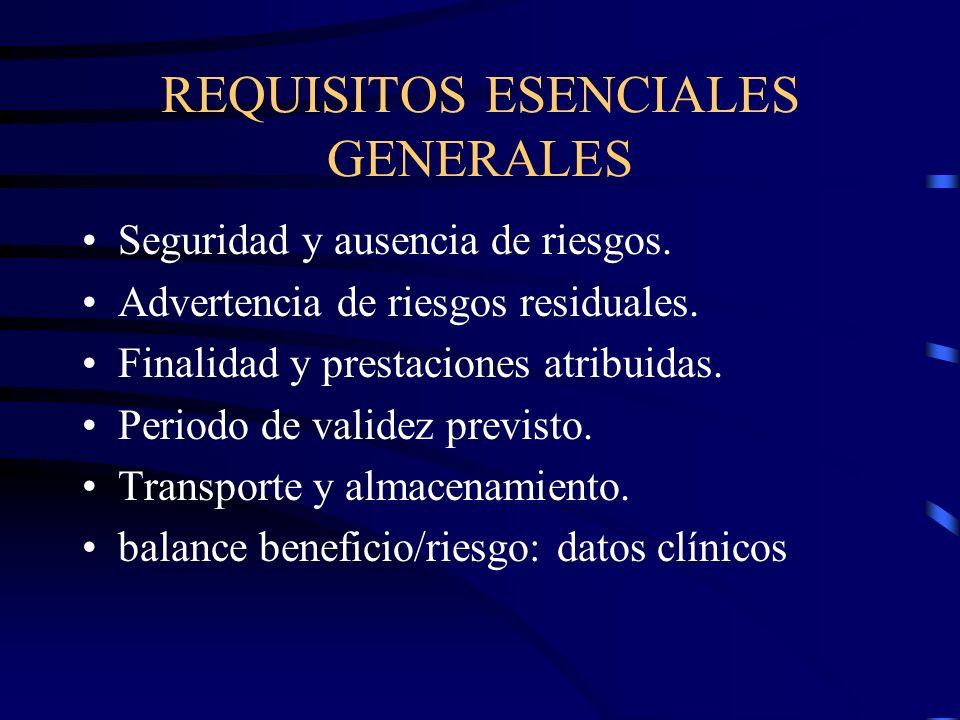 REQUISITOS ESENCIALES GENERALES Seguridad y ausencia de riesgos.