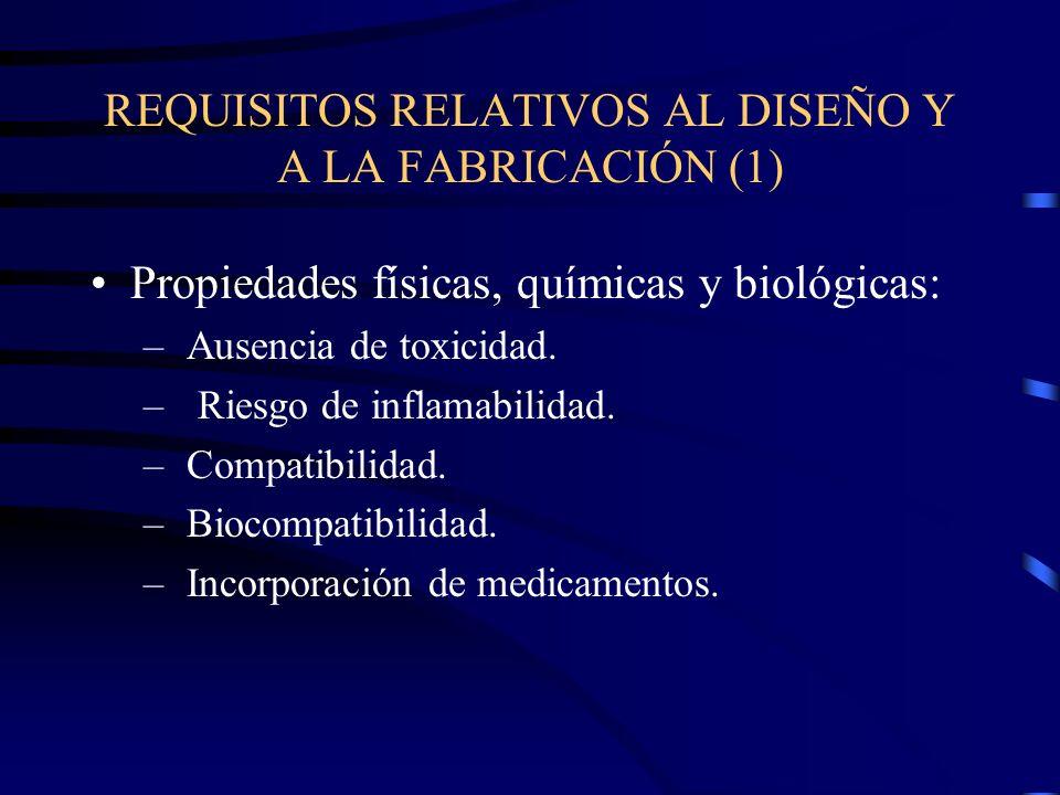 REQUISITOS RELATIVOS AL DISEÑO Y A LA FABRICACIÓN (1) Propiedades físicas, químicas y biológicas: – Ausencia de toxicidad.