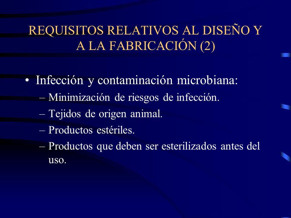 REQUISITOS RELATIVOS AL DISEÑO Y A LA FABRICACIÓN (2) Infección y contaminación microbiana: –Minimización de riesgos de infección.