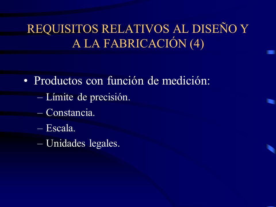 REQUISITOS RELATIVOS AL DISEÑO Y A LA FABRICACIÓN (4) Productos con función de medición: –Límite de precisión.