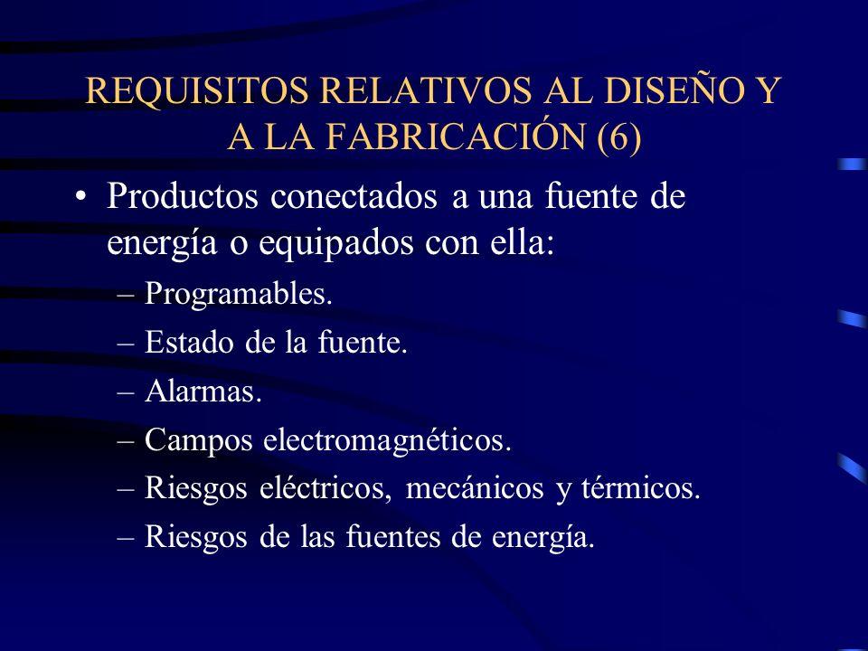 REQUISITOS RELATIVOS AL DISEÑO Y A LA FABRICACIÓN (6) Productos conectados a una fuente de energía o equipados con ella: –Programables.