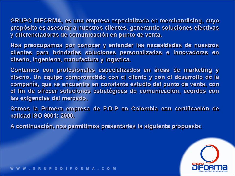 GRUPO DIFORMA, es una empresa especializada en merchandising, cuyo propósito es asesorar a nuestros clientes, generando soluciones efectivas y diferen
