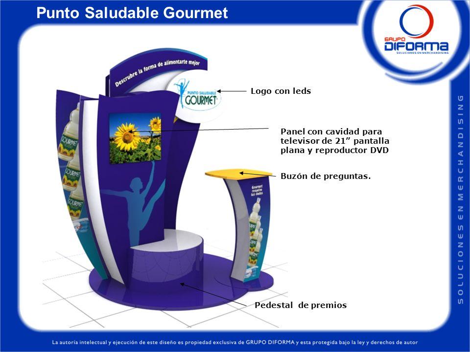 Punto Saludable Gourmet Buzón de preguntas. Pedestal de premios Logo con leds Panel con cavidad para televisor de 21 pantalla plana y reproductor DVD
