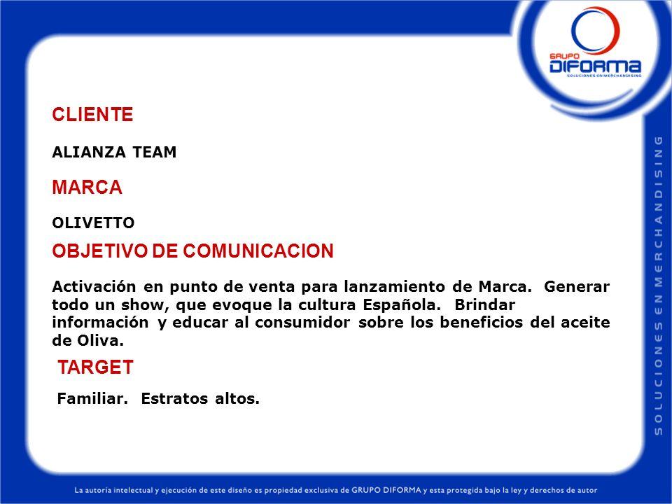 ALIANZA TEAM CLIENTE OLIVETTO MARCA Activación en punto de venta para lanzamiento de Marca. Generar todo un show, que evoque la cultura Española. Brin