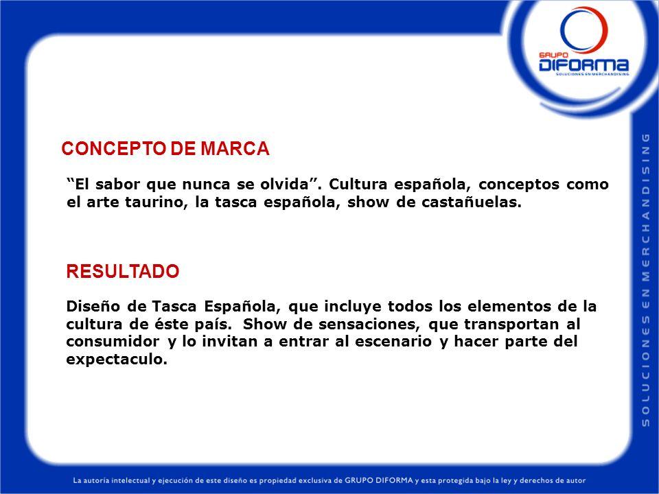 Diseño de Tasca Española, que incluye todos los elementos de la cultura de éste país. Show de sensaciones, que transportan al consumidor y lo invitan