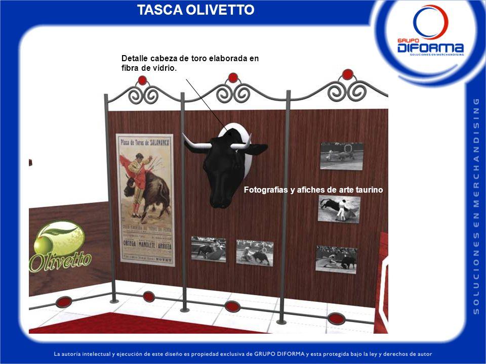Detalle cabeza de toro elaborada en fibra de vidrio. Fotografías y afiches de arte taurino TASCA OLIVETTO