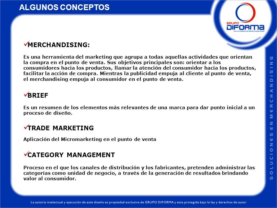 ALGUNOS CONCEPTOS MERCHANDISING: Es una herramienta del marketing que agrupa a todas aquellas actividades que orientan la compra en el punto de venta.