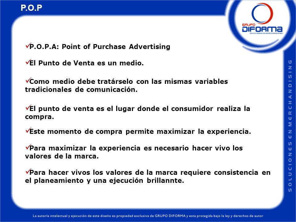 P.O.P.El 70% de la decisión de compra, se toma en el punto de venta.