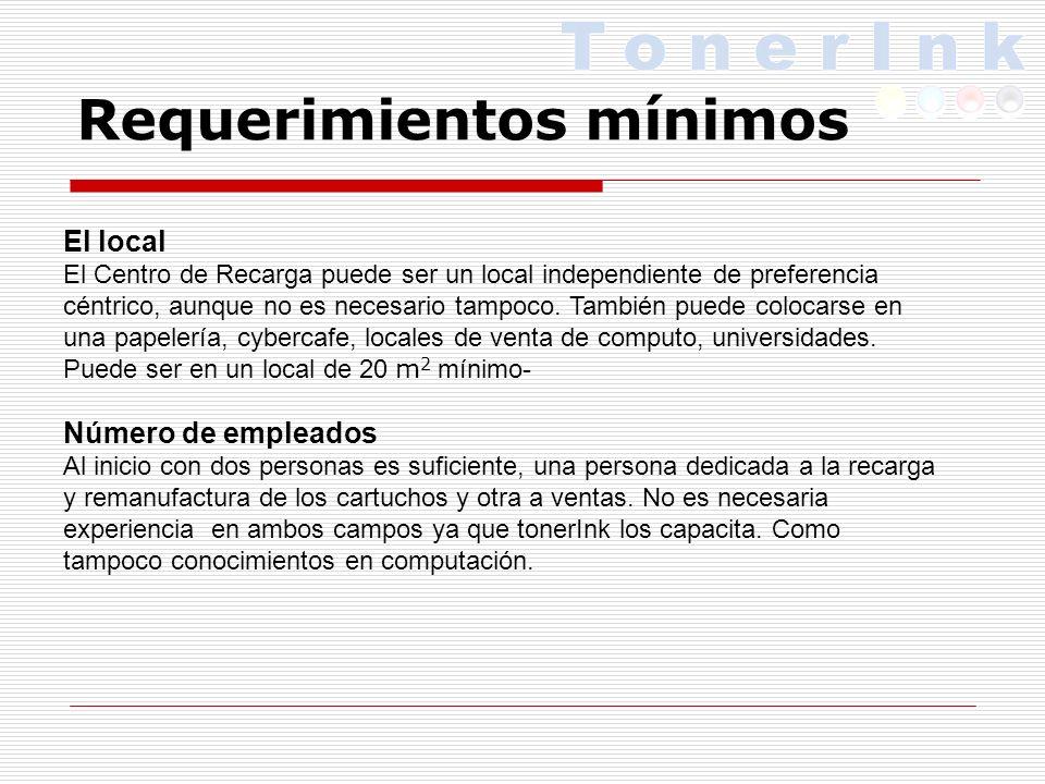Requerimientos mínimos El local El Centro de Recarga puede ser un local independiente de preferencia céntrico, aunque no es necesario tampoco.