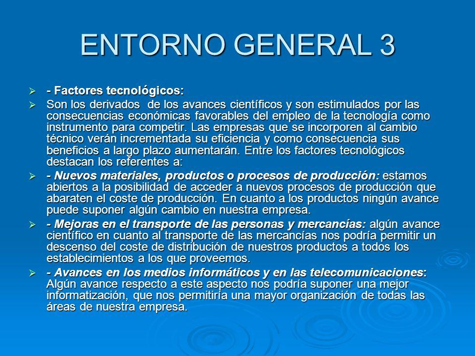ENTORNO GENERAL 3 - Factores tecnológicos: - Factores tecnológicos: Son los derivados de los avances científicos y son estimulados por las consecuenci