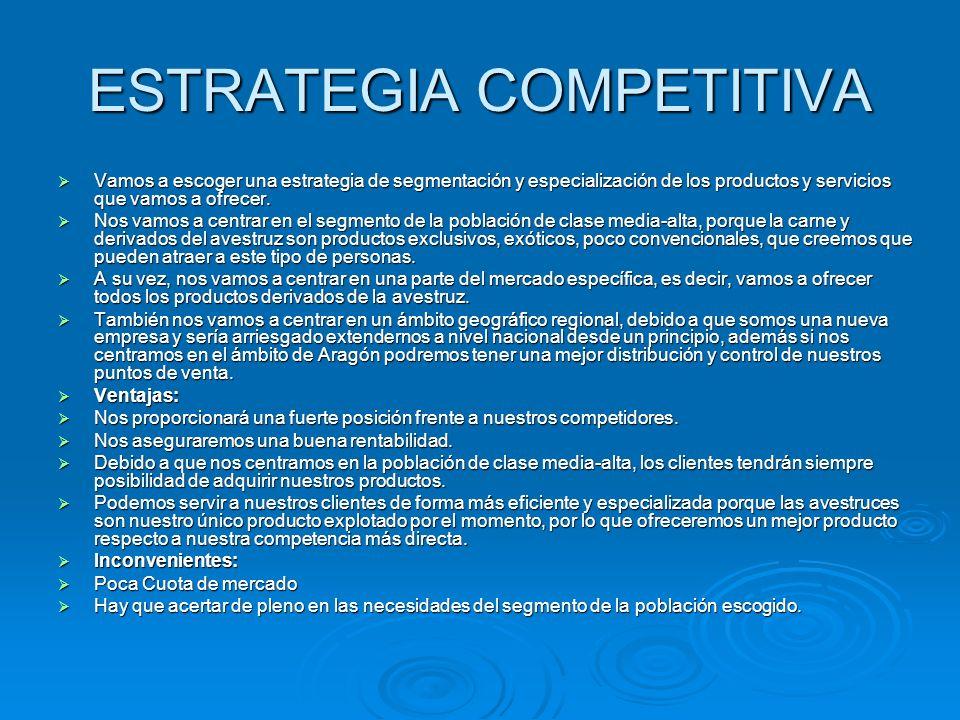 ESTRATEGIA COMPETITIVA Vamos a escoger una estrategia de segmentación y especialización de los productos y servicios que vamos a ofrecer. Vamos a esco