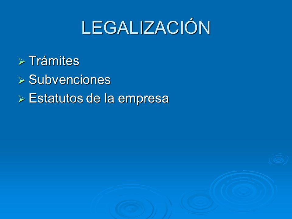 LEGALIZACIÓN Trámites Trámites Subvenciones Subvenciones Estatutos de la empresa Estatutos de la empresa