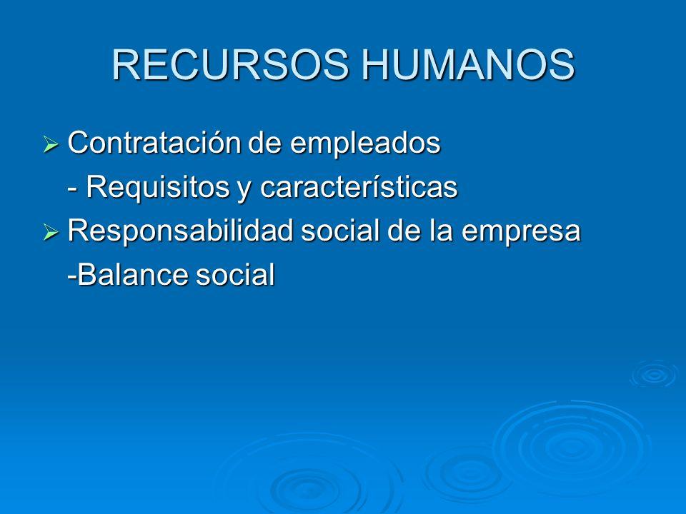 RECURSOS HUMANOS Contratación de empleados Contratación de empleados - Requisitos y características Responsabilidad social de la empresa Responsabilid