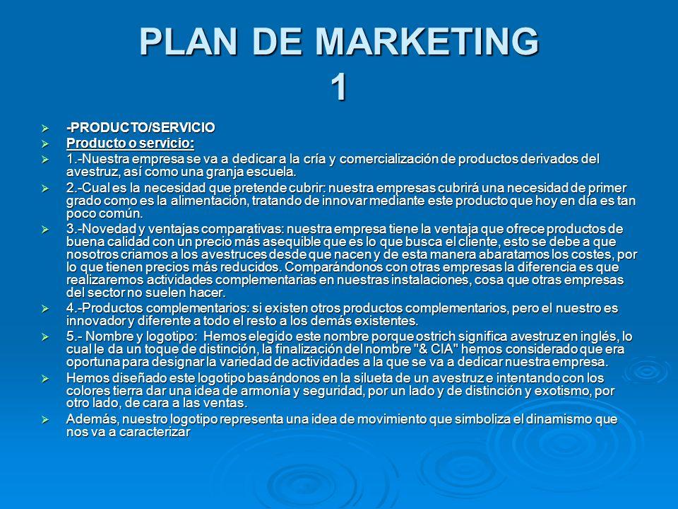 PLAN DE MARKETING 1 -PRODUCTO/SERVICIO -PRODUCTO/SERVICIO Producto o servicio: Producto o servicio: 1.-Nuestra empresa se va a dedicar a la cría y com