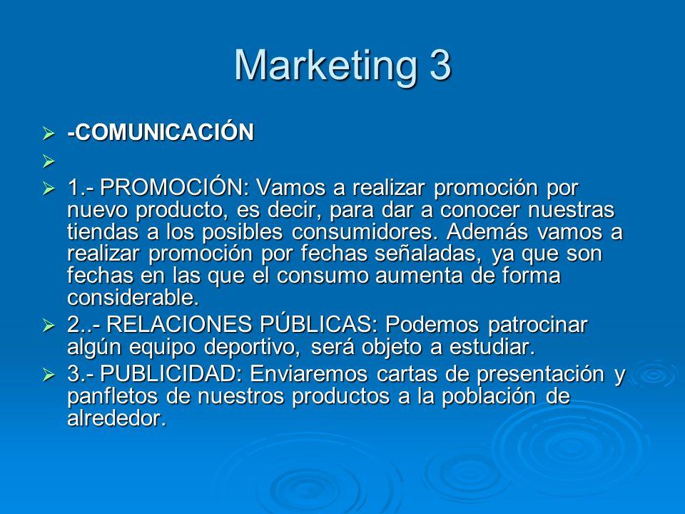 Marketing 3 -COMUNICACIÓN -COMUNICACIÓN 1.- PROMOCIÓN: Vamos a realizar promoción por nuevo producto, es decir, para dar a conocer nuestras tiendas a