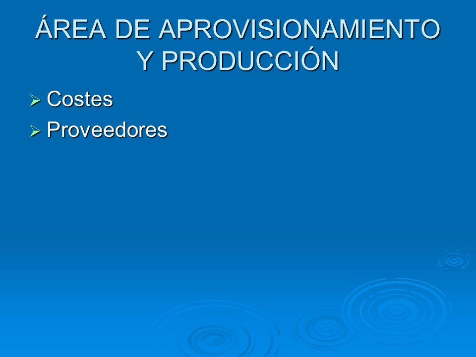 ÁREA DE APROVISIONAMIENTO Y PRODUCCIÓN Costes Costes Proveedores Proveedores