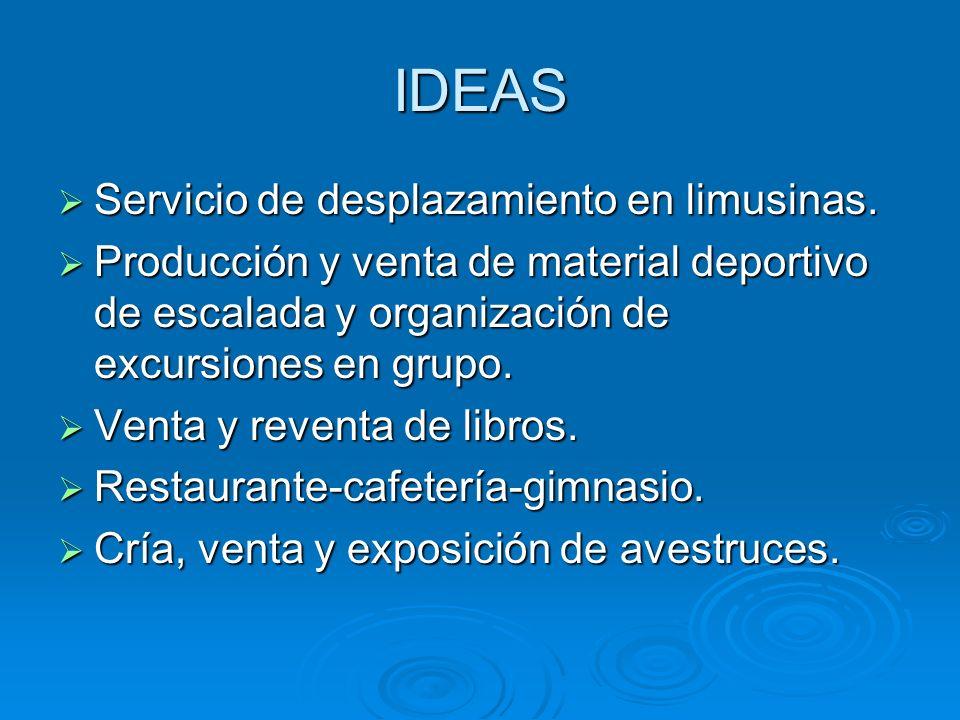 IDEAS Servicio de desplazamiento en limusinas. Servicio de desplazamiento en limusinas. Producción y venta de material deportivo de escalada y organiz