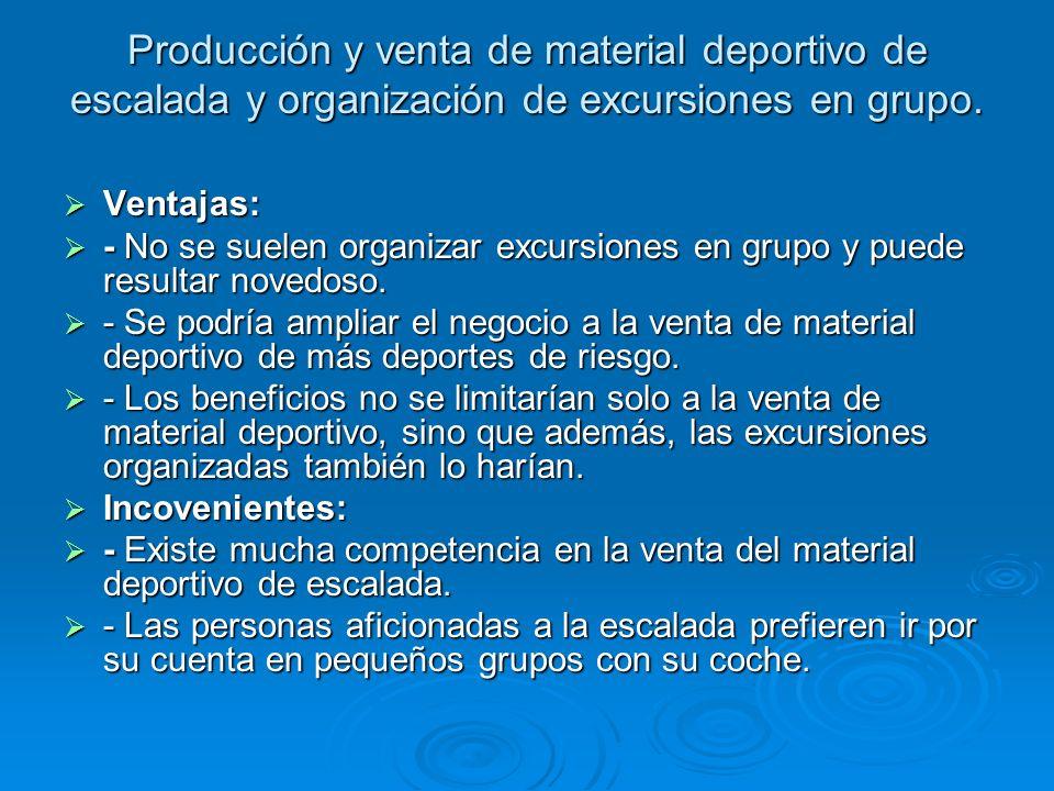 Producción y venta de material deportivo de escalada y organización de excursiones en grupo. Ventajas: Ventajas: - No se suelen organizar excursiones