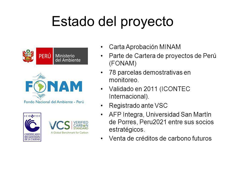 Estado del proyecto Carta Aprobación MINAM Parte de Cartera de proyectos de Perú (FONAM) 78 parcelas demostrativas en monitoreo. Validado en 2011 (ICO