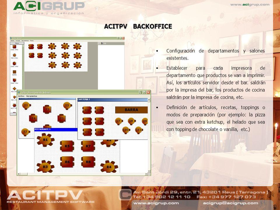 ACITPV BACKOFFICE Configuración de departamentos y salones existentes. Establecer para cada impresora de departamento que productos se van a imprimir.
