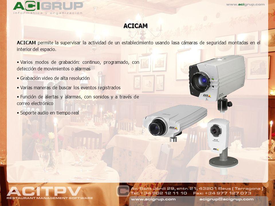 ACICAM permite la supervisar la actividad de un establecimiento usando lasa cámaras de seguridad montadas en el interior del espacio. Varios modos de