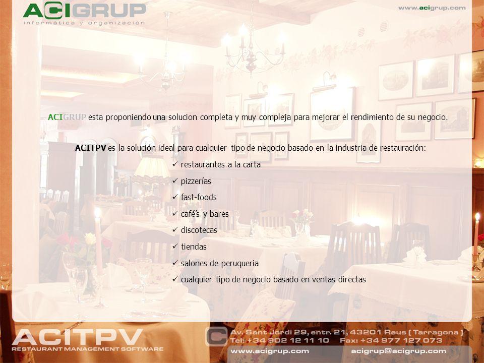 ACIGRUP esta proponiendo una solucion completa y muy compleja para mejorar el rendimiento de su negocio. ACITPV es la solución ideal para cualquier ti