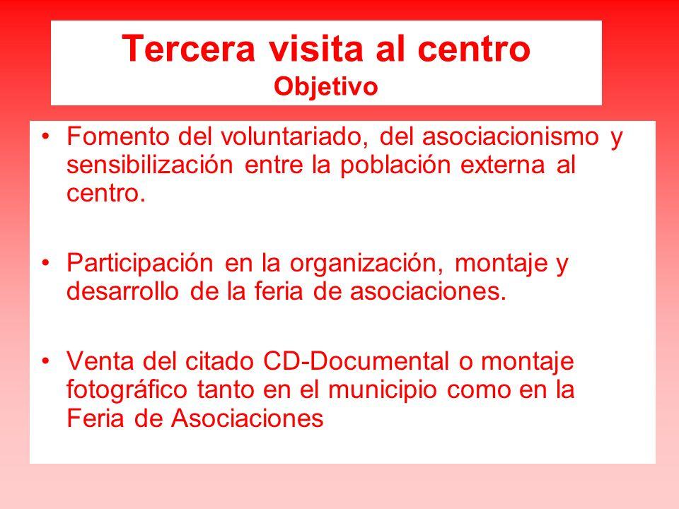 Tercera visita al centro Objetivo Fomento del voluntariado, del asociacionismo y sensibilización entre la población externa al centro.