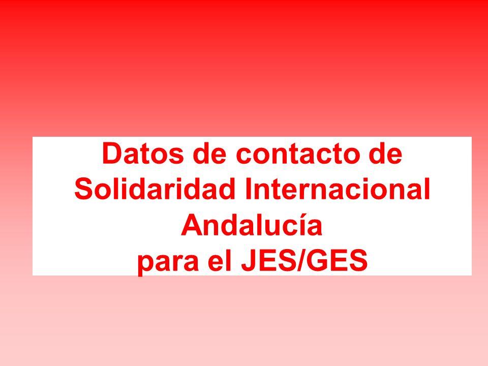 Datos de contacto de Solidaridad Internacional Andalucía para el JES/GES