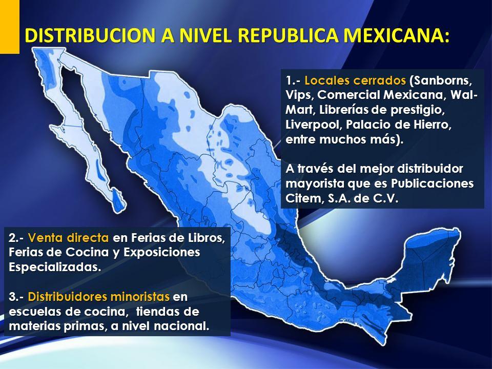 1.- Locales cerrados (Sanborns, Vips, Comercial Mexicana, Wal- Mart, Librerías de prestigio, Liverpool, Palacio de Hierro, entre muchos más). A través
