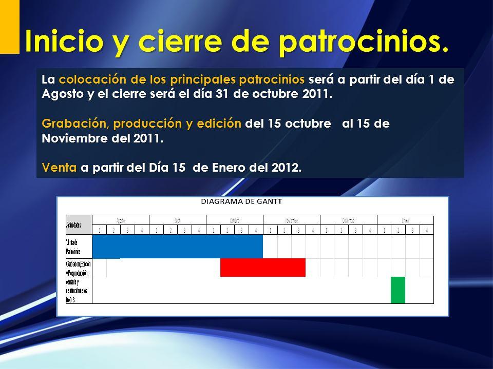 La colocación de los principales patrocinios será a partir del día 1 de Agosto y el cierre será el día 31 de octubre 2011. Grabación, producción y edi