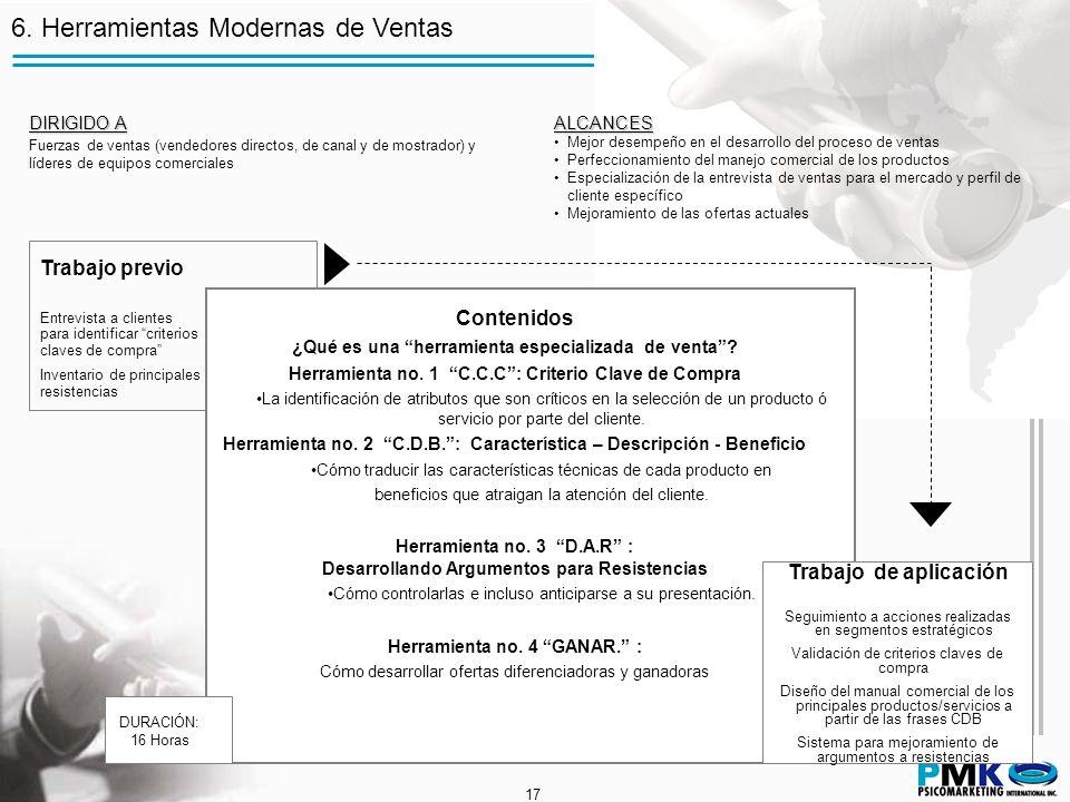 17 6. Herramientas Modernas de Ventas Trabajo previo Entrevista a clientes para identificar criterios claves de compra Inventario de principales resis