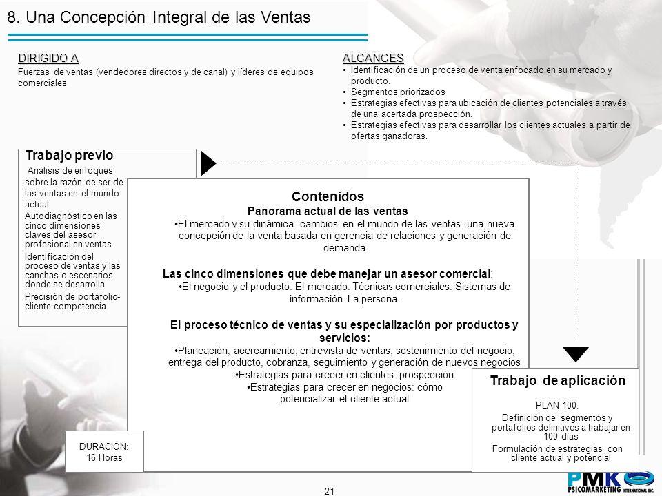 21 8. Una Concepción Integral de las Ventas Trabajo previo Análisis de enfoques sobre la razón de ser de las ventas en el mundo actual Autodiagnóstico