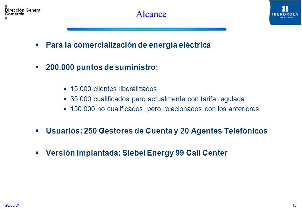 26/06/01 Dirección General Comercial 10 Alcance Para la comercialización de energía eléctrica 200.000 puntos de suministro: 15.000 clientes liberaliza