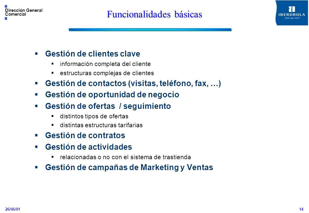 26/06/01 Dirección General Comercial 14 Gestión de clientes clave información completa del cliente estructuras complejas de clientes Gestión de contac