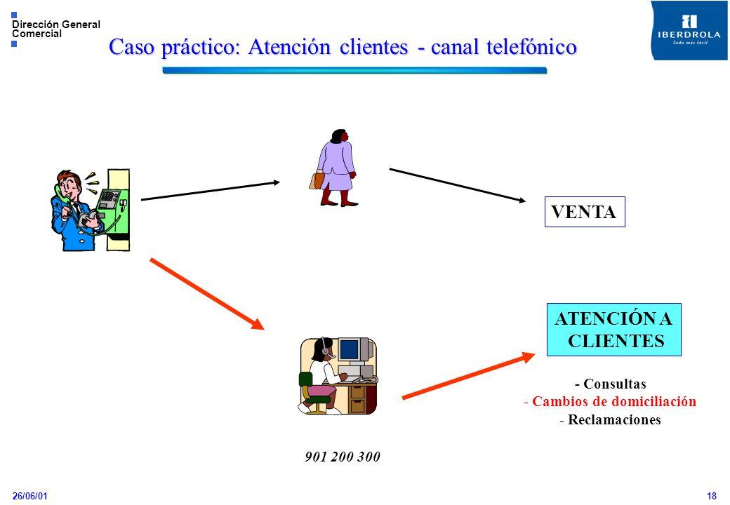 26/06/01 Dirección General Comercial 18 VENTA ATENCIÓN A CLIENTES 901 200 300 - Consultas - Cambios de domiciliación - Reclamaciones Caso práctico: At