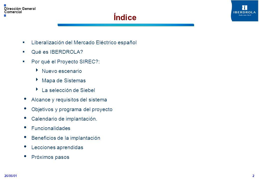 26/06/01 Dirección General Comercial 2 Liberalización del Mercado Eléctrico español Qué es IBERDROLA? Por qué el Proyecto SIREC?: Nuevo escenario Mapa