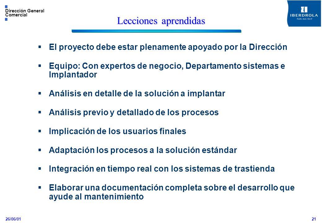 26/06/01 Dirección General Comercial 21 Lecciones aprendidas El proyecto debe estar plenamente apoyado por la Dirección Equipo: Con expertos de negoci