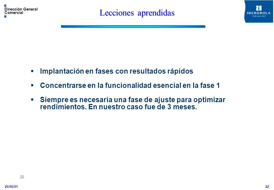 26/06/01 Dirección General Comercial 22 Implantación en fases con resultados rápidos Concentrarse en la funcionalidad esencial en la fase 1 Siempre es