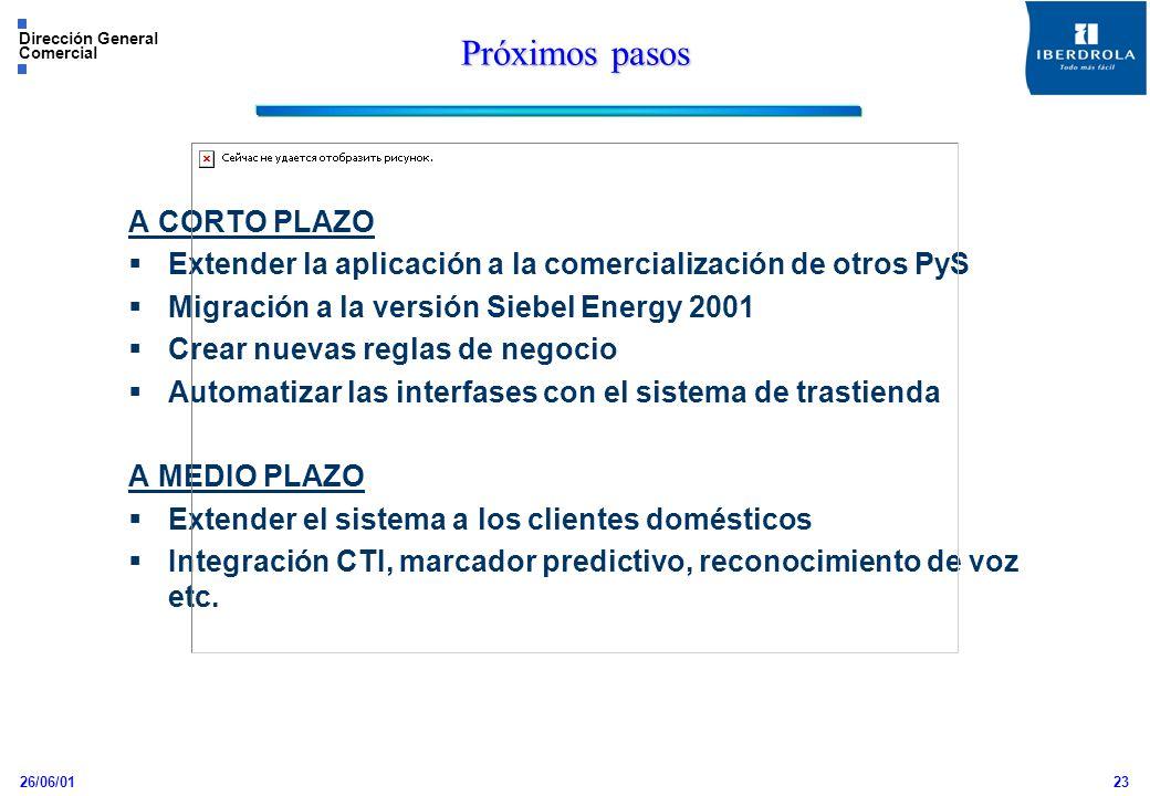 26/06/01 Dirección General Comercial 23 Próximos pasos A CORTO PLAZO Extender la aplicación a la comercialización de otros PyS Migración a la versión